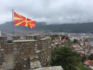 The Macedonian flag flying over Ohrid